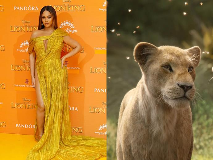 **Beyoncé channelling Nala from** ***The Lion King***<br><br>  In honour of her role as Nala in *The Lion King* remake, Beyoncé wore a regal golden gown by Vietnamese-based designer Nguyen Cong Tri to the film's London premiere.