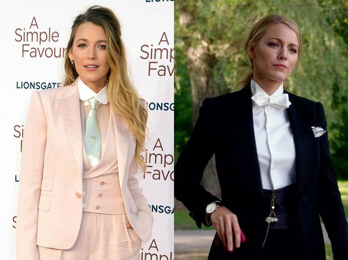 "**Blake Lively channelling Emily Nelson from** ***A Simple Favour***<br><br>  Similar to Jolie, Blake Lively allowed her character of Emily Nelson from *A Simple Favour* to dictate [her looks](https://www.elle.com.au/fashion/blake-lively-suits-18360|target=""_blank"") for the the film's press tour, which resulted in a plethora of stylish suits."