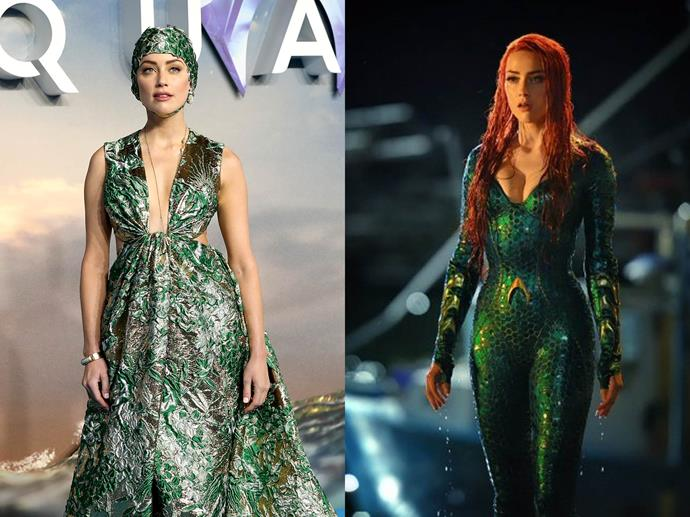 **Amber Heard channelling Mera from** ***Aquaman***<br><br>  A nod to her character Mera in *Aquaman*, Amber Heard wore an emerald green Valentino gown that mimicked her character's scale-like suit, along with a playful matching swimming cap, to the film's premiere.