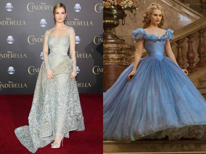 **Lily James channelling Cinderella from** ***Cinderella***<br><br>  Although her red carpet look was less frou-frou than the Disney Princess', Lily James very elegantly nodded to her character in an embellished Elie Saab couture gown with lace 'glass slippers' by Christian Louboutin.