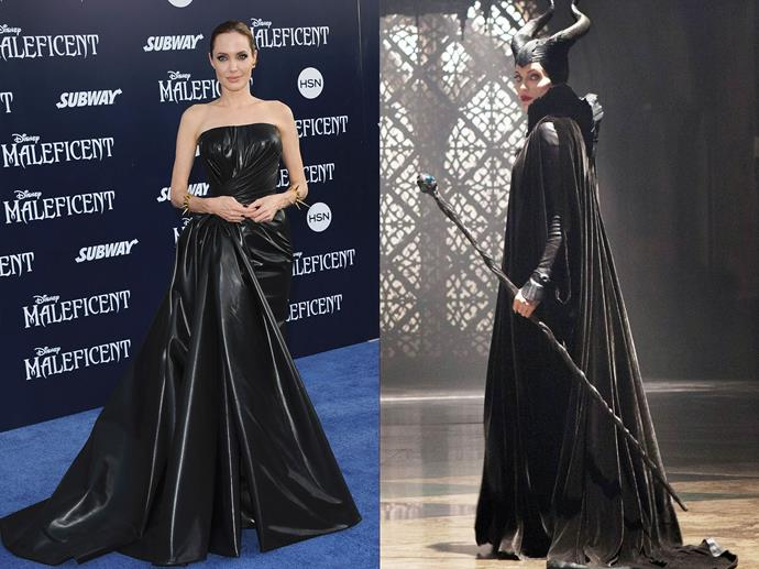 **Angelina Jolie as Maleficent from** ***Maleficent***<br><br>  Angelina Jolie's role as the Mistress of Evil certainly delivered when it came to off-screen fashion. Taking a leaf out of Maleficent's book, Jolie wore only black during the film's press circuit, with this rubberised silk Atelier Versace gown easily her most noteworthy look.