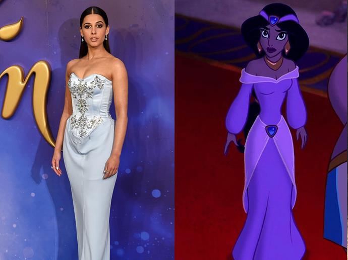 **Naomi Scott channelling Princess Jasmine from** ***Aladdin***<br><br>  Actress Naomi Scott paid tribute to one of her animated counterpart's less-famous looks by donning a strapless Burberry number with bejewelled accents.
