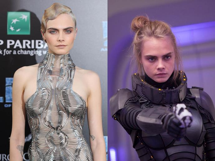 **Cara Delevingne channelling Laureline from** ***Valerian and the City Of A Thousand Planets***<br><br>  Clearly inspired by the film's inter-galactic aesthetic, Cara Delevingne opted for a futuristic high-neck number by Iris van Herpen.