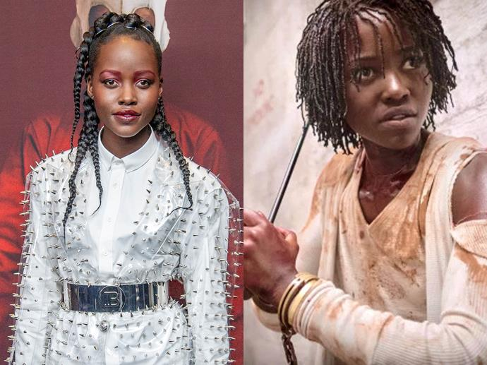 **Lupita Nyongo'o channelling Adelaide Wilson (Red) from** ***Us***<br><br>  Lupita Nyongo sported a spikey Balmain mini dress, while doing press for the Jordan Peele-directed horror film, which cleverly referenced the symbols of scissors and sharp objects depicted throughout the film.