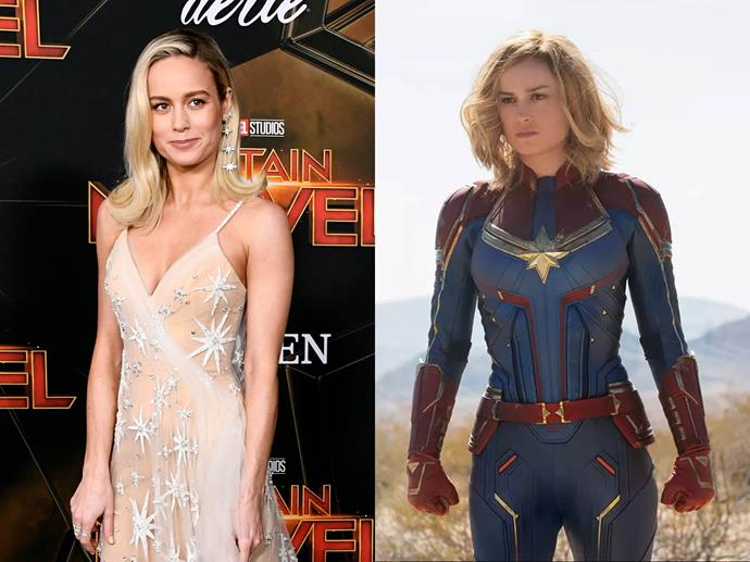 **Brie Larson channelling Captain Marvel from** ***Captain Marvel***<br><br>  Appearing at the world premiere of *Captain Marvel* in March 2019, Larson stepped out in a custom Rodarte gown. And while on first glance, it bore no resemblance to her character's costume, the dress' sheer overlay was actually covered in embroidery featuring Captain Marvel's eight-pointed star, the signature emblem seen at the heart of her suit.