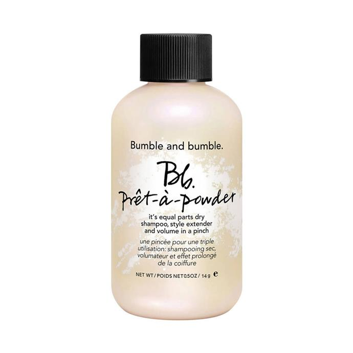 """This is an invisible hair powder that's a hardworking multi-tasker: it's a dry shampoo, styling product, and volumiser packed in a travel-friendly bottle. <br><br>  **Bumble And Bumble Prêt-à-Powder, $43 from [MECCA](https://www.mecca.com.au/bumble-and-bumble/pret-a-powder/V-017880.html
