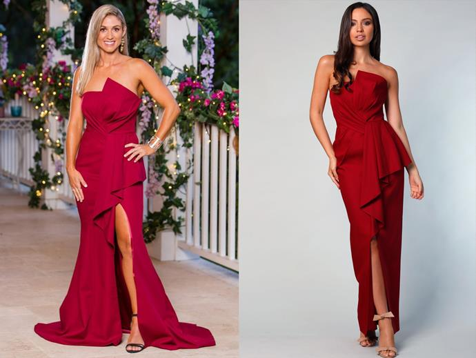 "Tash in the 'Stelin' gown by Samantha Rose, $398 at [After Dark](https://www.afterdark.com.au/shop/bridesmaids/stelin-gown/|target=""_blank""
