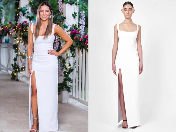 "Brianna in the 'Jax' gown, $560 by [Natalie Rolt](https://www.natalierolt.com/collections/made-to-order/products/jax-gown-in-heavy-scuba?variant=13238171828313|target=""_blank""