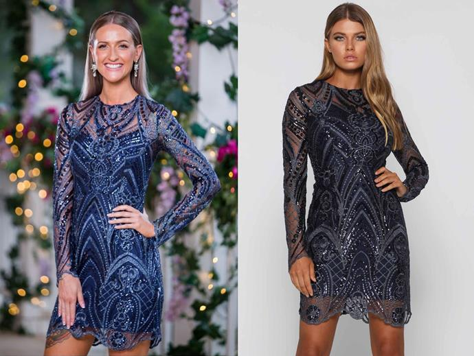 "Isabelle in the 'Vincent' dress, $395.95 by [Elle Zeitoune](https://www.ellezeitoune.com.au/item/1197-Vincent-Midnight/|target=""_blank""