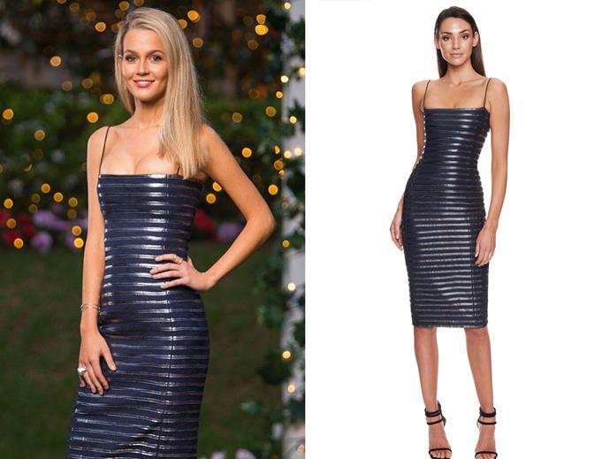 "Helena in the 'Amalie' dress, $129 at [Eliya The Label](https://eliyathelabel.com.au/collections/dresses/products/amalie-dress-navy?variant=8468311474222|target=""_blank""