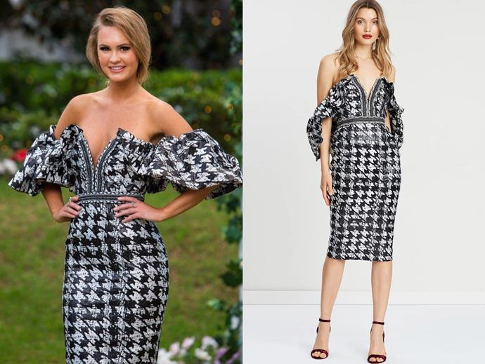 "Chelsie in the 'Retribution' dress by Eliya the Label, $399 at [The Iconic](https://www.theiconic.com.au/retribution-dress-761306.html|target=""_blank""