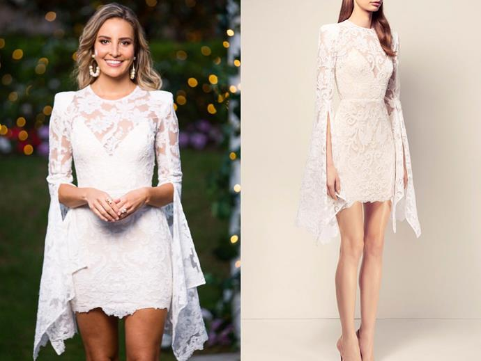 "Kristen in the 'Bartley' dress by Alex Perry, $2,100 at [Moda Operandi](https://www.modaoperandi.com/alex-perry-ss17/the-bartley-lace-long-sleeve-mini-dress-with-slip-2|target=""_blank""