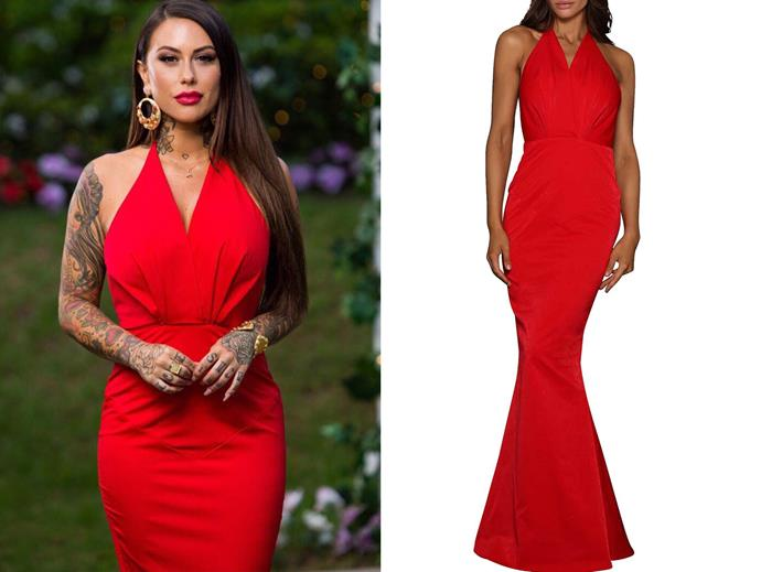 "Jessica in the 'halterneck dress' by Elle Zeitoune, $249 at [David Jones](https://www.davidjones.com/Product/22103174|target=""_blank""