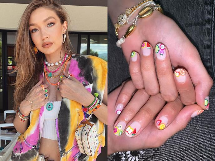 """**Gigi Hadid's cute tropical tips**<br><br>  *Images via [@gigihadid](https://www.instagram.com/gigihadid/ target=""""_blank"""" rel=""""nofollow"""") and [@nailsbymei](https://www.instagram.com/p/B0rA26PAGSB/ target=""""_blank"""" rel=""""nofollow"""")*"""