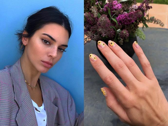"**Kendall Jenner's sunflower nails**<br><br>  *Images via [@kendalljenner](https://www.instagram.com/kendalljenner/|target=""_blank""|rel=""nofollow"")*"