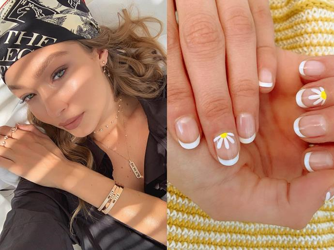"**Gigi Hadid's daisy design**<br><br>  *Images via [@gigihadid](https://www.instagram.com/p/B0ijeyvHies/|target=""_blank""