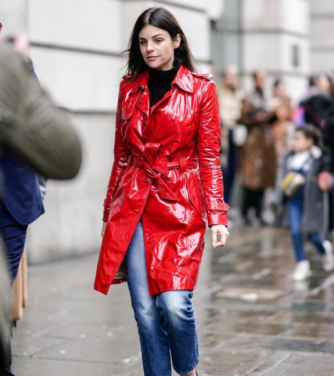 A vibrantly hued statement colour (a guest at London Fashion Week spring/summer '19).