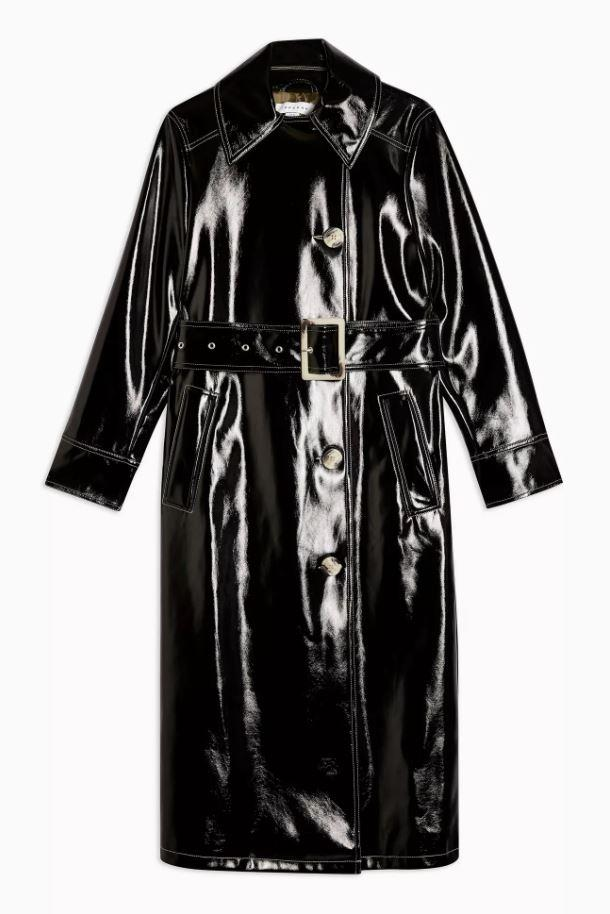 "*Black vinyl trench coat by Topshop, $137 at [Topshop](https://www.topshop.com/en/tsuk/product/contrast-vinyl-trench-9016010|target=""_blank""|rel=""nofollow"").*"