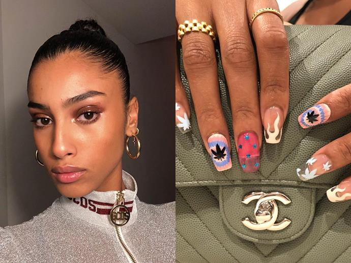 "**Imaan Hammam's quirky mismatched nails**<br><br>  *Images via [@imaanhammam](https://www.instagram.com/p/BrAtCxzBA8u/|target=""_blank""