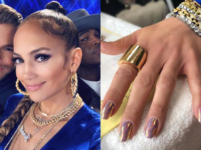 "**Jennifer Lopez's two-tone shimmer design**<br><br>  *Images via [@jlo](https://www.instagram.com/p/BuXVcfuA0yw/|target=""_blank""