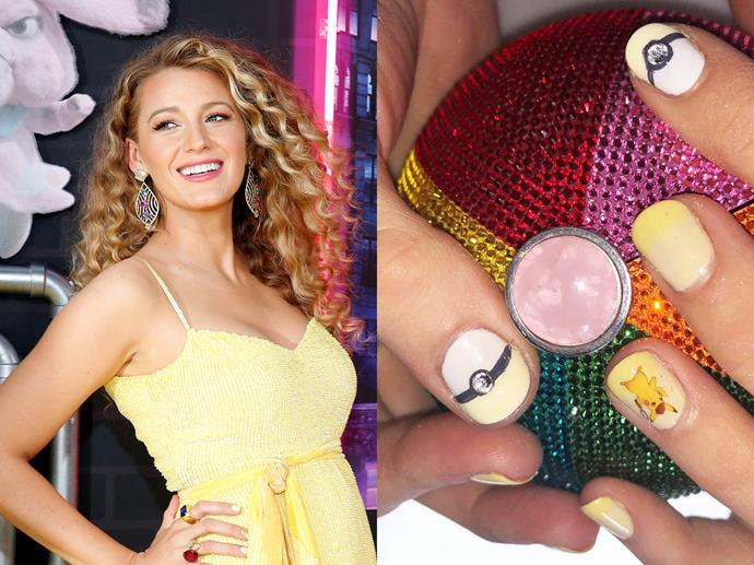 "**Blake Lively's Pokémon nails**<br><br>  *Images via Getty and [@blakelively](https://www.instagram.com/p/BxVDv-XgDzc/|target=""_blank""