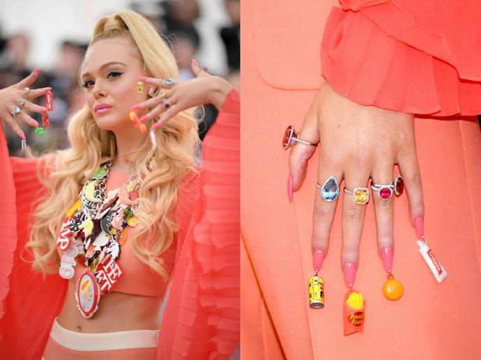 **Elle Fanning's 1970s-inspired Met Gala nails**<br><br>  *Images via Getty*