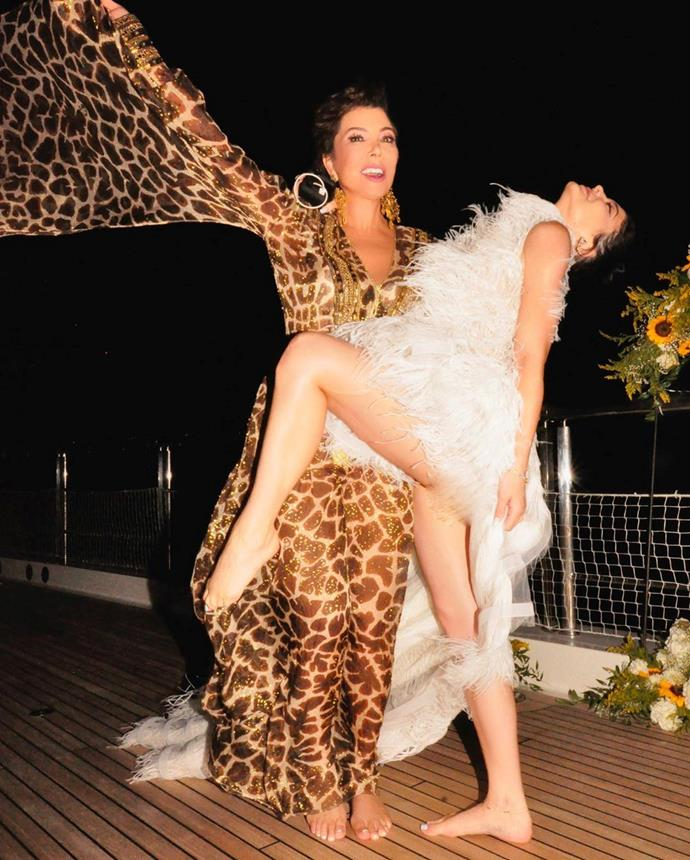 "Kylie's mother Kris Jenner wished her daughter on Instagram with a joyous photo of the them from the yacht party, writing:<br><br>  ""Birthday dance!! Loved celebrating you @kyliejenner.""<br><br>  *Image via [@krisjenner](https://www.instagram.com/p/B1CHvUnpgL2/