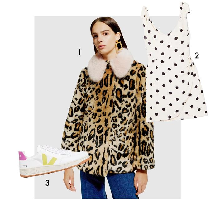 "1, Coat by Topshop, $74.97 at [The Iconic](https://www.theiconic.com.au/leopard-faux-fur-coat-760359.html|target=""_blank""