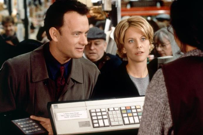 ***You've Got Mail*** **(1998)**<br><br>  Superstore magnate Joe (Tom Hanks) and independent shop owner Kathleen (Meg Ryan) fall in love via email, but neither of them are aware that he's trying to put her out of business. Eventually, they learn of each others true identities and realise they are rivals, but not after developing some very strong feelings for each other.