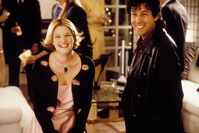 ***The Wedding Singer*** **(1998)**<br><br>  After his fiancée leaves him at the altar, wedding singer Robbie (Adam Sandler) makes friends with reception-hall waitress Julia (Drew Barrymore) who enlists him to help plan her wedding.