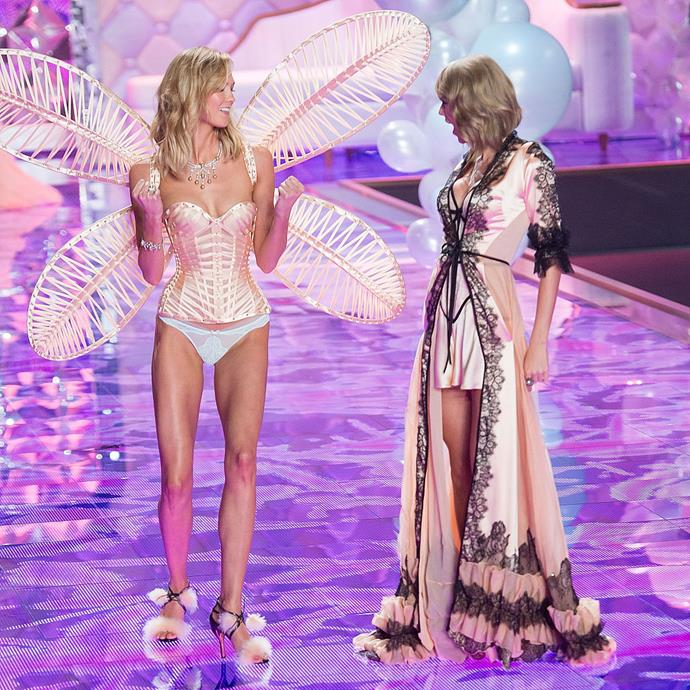 **October 2014 to December 2014**<br><br>  In December, Swift appeared in the Victoria's Secret Fashion Show with Kloss for 2014 for a second year in a row.