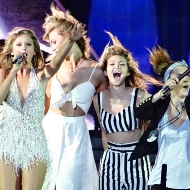 "**June 2015**<br><br>  Still strong friends at this point, Kloss and a number of other members from Swift's ""Bad Blood"" squad joined the songstress on her world tour.<br><br>  *Image via [@karliekloss](https://www.instagram.com/p/4eN4PmESho/