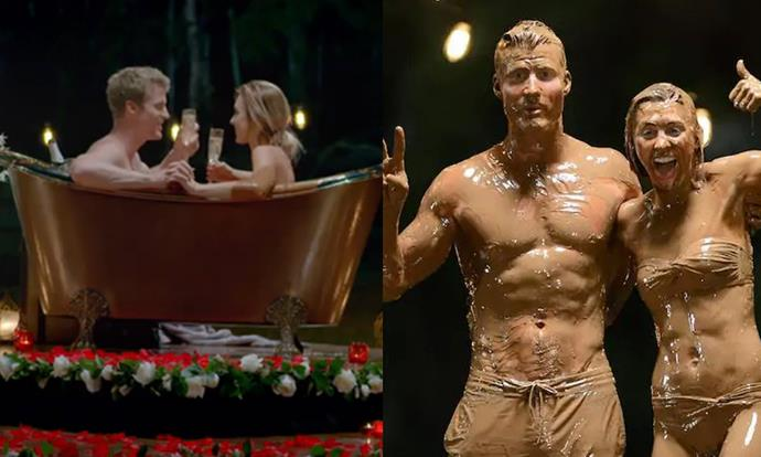 "**4. *That* melted chocolate bath (2016)** <br><br> In 2016, Bachelor [Richie Strahan](https://www.elle.com.au/celebrity/bachelor-in-paradise-australia-richie-alex-20195|target=""_blank"") treated front-runner Alex Nation to an unexpected date—a bath in 300 litres of melted chocolate. What started off as a cute (if not a little left-of-field) idea quickly descended into gag-worthy  territory when the couple started pouring milk chocolate over one another's bodies. <br><br> At the end of the date, Richie and Alex emerged looking like they'd just run a 10 kilometre Tough Mudder course, and suffice to say, we weren't into it. <br><br> *Images: Channel Ten*"