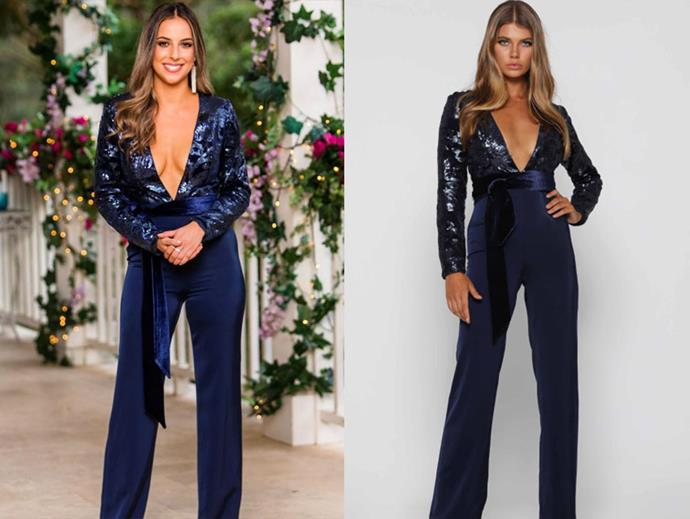 "Brianna in the 'Jacob Midnight' Jumpsuit, $369.95 by [Elle Zeitoune](https://www.ellezeitoune.com.au/item/1192-Jacob-Midnight/|target=""_blank""