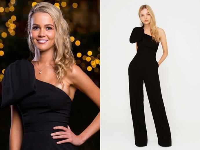 "Helena in the 'Fairmont Jumpsuit, $199.95 from [Sheike](https://www.sheike.com.au/fairmont-jumpsuit-black|target=""_blank""