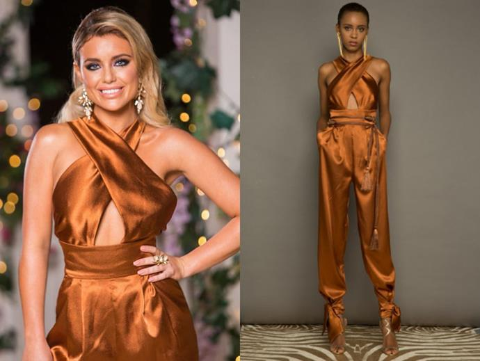 "Monique in the 'Look 13' jumpsuit, $850 by [Bronx and Banco](http://bronxandbanco.com.au/shop/look-13.html|target=""_blank""