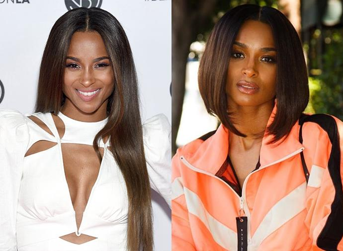 "**Ciara:** In August 2019, the ""Level Up"" singer swapped her long tresses for an asymmetrical chop à la Victoria Beckham's angular ""Posh Spice"" bob, courtesy of celebrity hairstylist and wig maker [César DeLeön Ramirêz](https://www.instagram.com/cesar4styles/