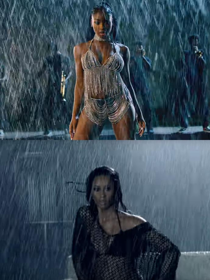 "**Normani channelling Ciara in ""Gimme Dat""**<br><br>  It wouldn't be a tribute to the '00s without a classic R'n'B rain scene! While the scene could be likened to several earlier videos, including Ashanti's ""Rain On Me"" and Rihanna's ""Umbrella"", it's arguably most similar to the end of Ciara's [""Gimme Dat""](https://www.youtube.com/watch?v=MakgTQ_Ubzs