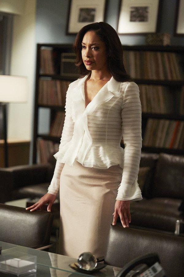 **Jessica Pearson from** ***Suits***<br><br>  **Lesson:** Feminine tailoring<br><br>  Jessica Pearson was, is and always will be 'goals' when it comes to work wardrobes. She typically wore classic silhouettes, such as fitted knee-length dresses or pencil skirts with blouses in neutral hues, but they always had an elegant, feminine 'twist' to them. From an unexpected off-shoulder to elegant peplums and relaxed lapels, her take on feminine tailoring is one that is both timeless and modern.