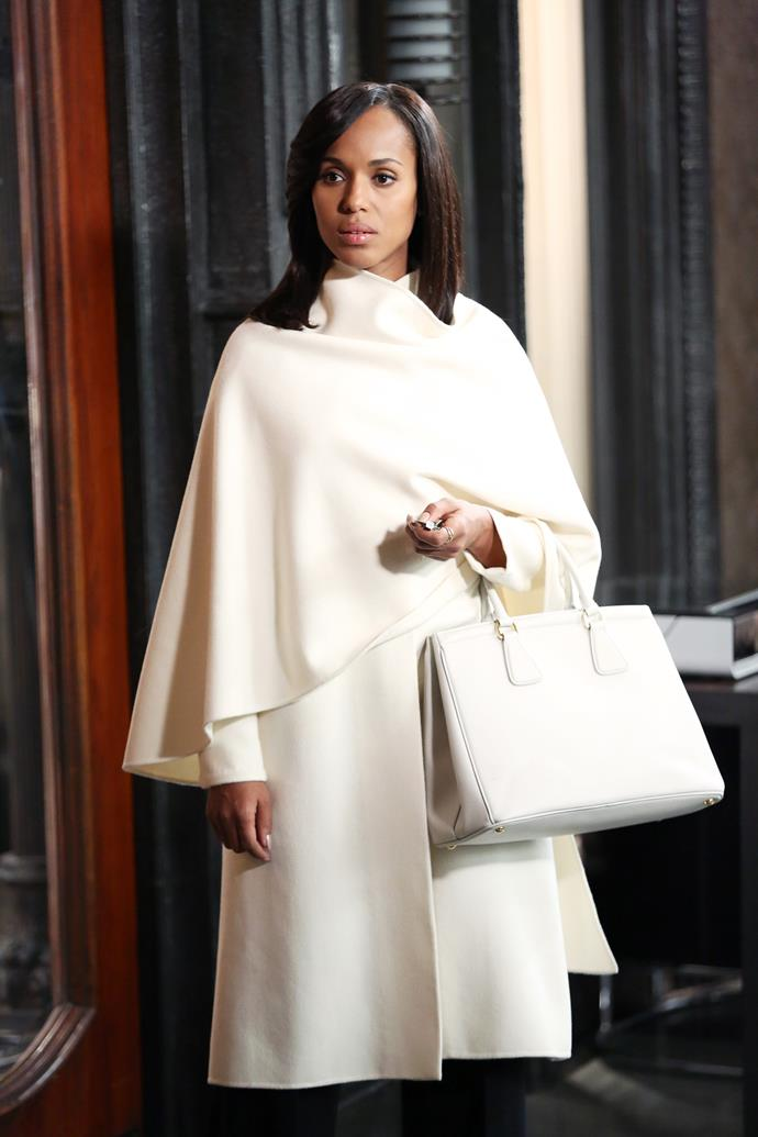 "**Olivia Pope from** ***Scandal***<br><br>  **Lesson:** The power of neutrals<br><br>  Easily the best ""fixer"" or crisis manager that Washington D.C. has ever seen, *Scandal's* Olivia Pope definitely had the work wardrobe to match! Considering her position as the White House's communications director and her need to ""neutralise"" political PR disasters, it's no surprise that her office ensembles consisted largely of cream, ecru and champagne hues. And why not? If you know the power of neutrals and wield them well, it's anything but boring. Just ask Olivia."