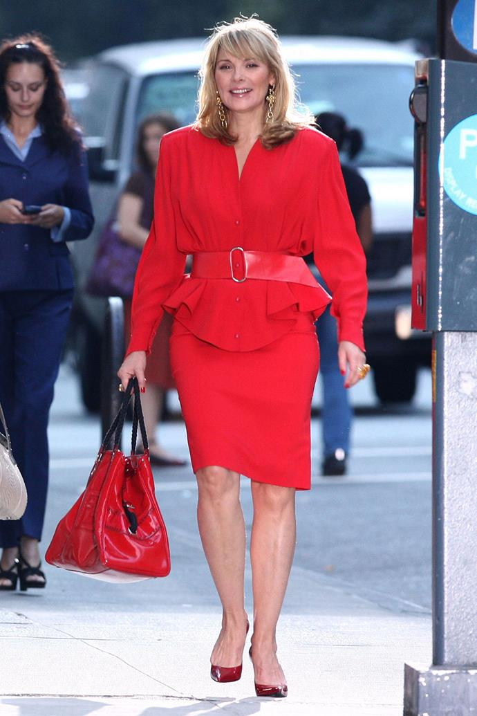 "**Samantha Jones from** ***Sex and the City***<br><br>  **Lesson:** Dressing with confidence<br><br>  Much is made about [Carrie's style in *Sex and the City*](https://www.harpersbazaar.com.au/culture/celebrities-dressing-like-carrie-bradshaw-16993|target=""_blank""), but when it comes to power dressing, we have to hand it to New York's PR queen, Samantha Jones. From her hot pink suits, to her vibrant colour-blocking, Samantha knew a thing or two about projecting confidence in the workplace. Case in point: This head-to-toe red look, which incidentally, science says is one of the [colours you should wear if you want a pay rise](https://www.elle.com.au/fashion/what-to-wear-pay-rise-21007