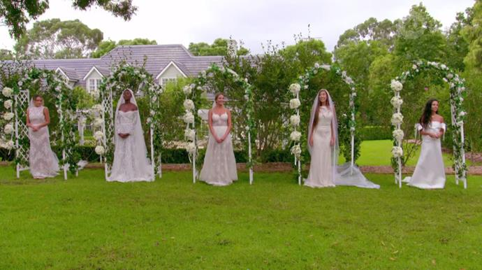 **5. The 'Bridal Bouquet-Cutting' group date from episode six of Matt Agnew's season of** ***The Bachelor*** **Australia**<br><br>  It wouldn't be *real* competition between women without bringing some exhausted stereotype about bride wars, now would it? From the running around in wedding dresses to the savage bouquet-cutting (which they did to take a fellow contestant down in the game), the entire thing was a mockery of both women and weddings.