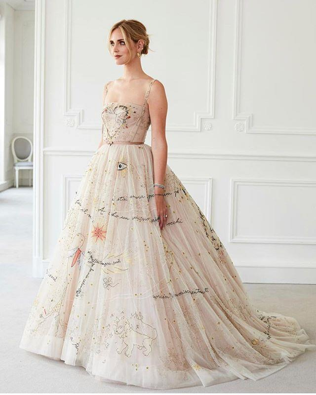 "**Chiara Ferragni** <br><br> For her insanely extravagant wedding in October 2018, Italian fashion blogger Chiara Ferragni wore three Christian Dior gowns, as well as a Prada mini-dress for her pre-wedding dinner. For the start of her wedding reception, Ferragni wore this princess-style Dior gown with intricate embroidery. <br><br> *Image: Instagram [@chiaraferragni](https://www.instagram.com/p/BnMicupnxYR/?utm_source=ig_embed|target=""_blank""
