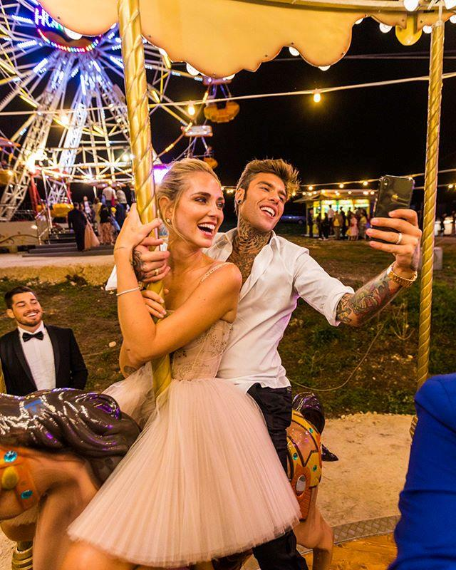 "**Chiara Ferragni** <br><br> Following her reception dinner, Ferragni changed into a frilled tulle mini-dress, which proved perfect for dancing (as well as hanging out at the *literal amusement park* that was constructed in honour of her wedding). <br><br> *Image: Instagram [@chiaraferragni](https://www.instagram.com/p/BnQyK_wHWNO/|target=""_blank""