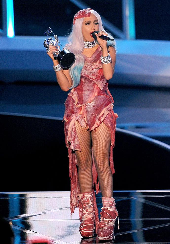"""**Lady Gaga wearing a meat dress in 2010**<br><br>  Possible one of the most talked about dresses in award show history, Lady Gaga's meat dress of 2010 caused [significant controversy](https://www.billboard.com/articles/news/956399/lady-gaga-explains-her-meat-dress-its-no-disrespect