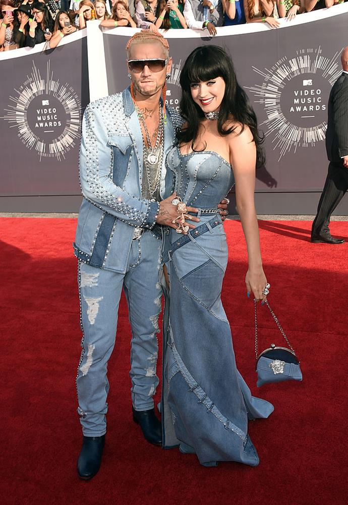 **Katy Perry and Riff Raff's double denim looks in 2014**<br><br>  A tongue-in-cheek nod to Britney Spears and Justin Timberlake's iconic double-denim look at the 2001  American Music Awards, Katy Perry teamed up with rapper Riff Raff to put their own spin on the Canadian tuxedo.