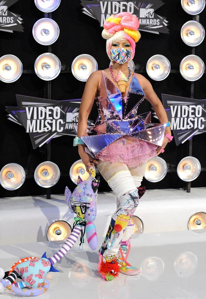 """**Nicky Minaj's toy-inspired dress in 2011**<br><br>  The """"Anaconda"""" rapper wore what some called an [""""entire Toys 'R Us""""](https://www.huffingtonpost.com.au/2011/08/28/nicki-minaj-vma-red-carpet_n_939897.html