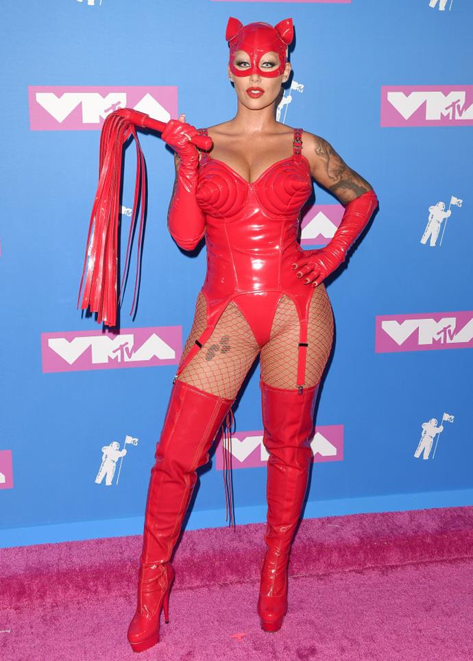 **Amber Rose's devilish get-up in 2018**<br><br>  Taking devilish dressing to new heights, Amber Rose hit the VMAs red carpet in red lingerie with dominatrix boots and a whip.