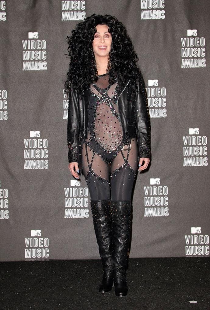 **Cher's back-to-the-'80s look in 2010**<br><br>  Singer Cher returned to music in 2010, and in doing so, brought back the '80s via a Bob Mackie original design for the 2010 MTV VMAs.
