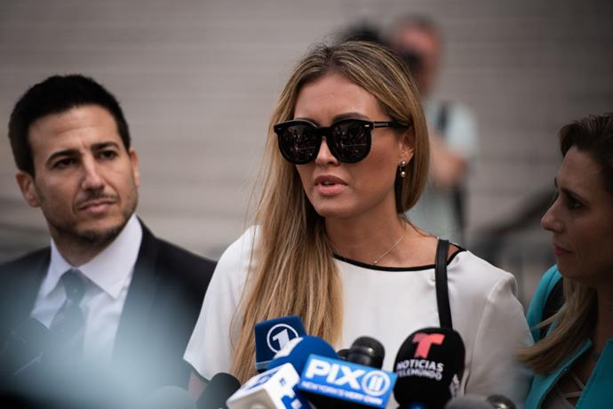Jennifer Araoz, an alleged victim of Jeffrey Epstein,fronts media outside the federal court hearing.